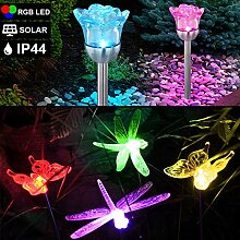 6er Set RGB LED Solar Steck Lampen Farbwechsel