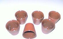 6er Set Schnapsbecher aus Ton innen transparent glasiert ca. 0,02l Form KO