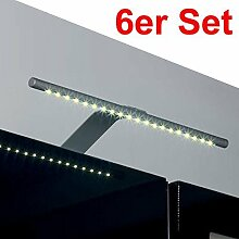 6er Set SO-TECH® Abella Leuchten warmweiß LED-Aufbauleuchte / chrom matt / Breite: 325 mm / mit Trafo, Schalter und Stecker / 18 LEDs