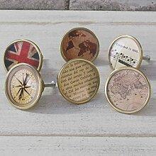 6er Set Travel Motto Schrank schublade zieht gold landkarte kompass vintage atlas