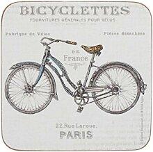 6er Set Untersetzer Bicycle Fahrrad 10x10cm Kork +