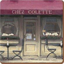 6er Set Untersetzer CHEZ COLETTE CAFE Kork 10x10cm
