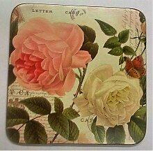 6er Set Untersetzer Coasters ROSE GARDEN Kork