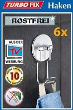 6er SET WENKO TurboFIX Handtuchhaken - Aluminum -