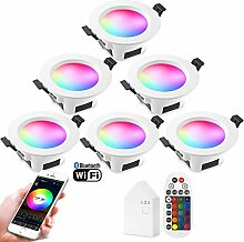 6er WiFi Bluetooth LED Einbaustrahler, 9W 230V