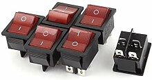 6Pcs 15A 250V / 20A 125V AC 4 Pin DPST ON /
