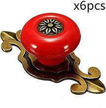 6PCS Antik Design Porzellan Möbelknöpfe Griffe Knauf MöbelKnopf Runde Keramik Küche Bad Schrank Knöpfe Türknöpfe Möbelgriff von Creatwls (Bronze-Rot)