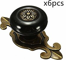 6PCS Antik Design Porzellan Möbelknöpfe Griffe Knauf MöbelKnopf Runde Keramik Küche Bad Schrank Knöpfe Türknöpfe Möbelgriff von Creatwls (Bronze-Schwarz)