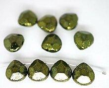 6pcs Grün Metallic Glanz Briolette Pear Faceted