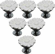 6pcs Kreative Blumendesign Keramik Griff