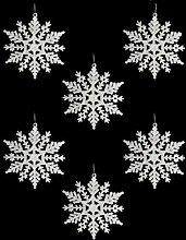 6Weiß Glitzer Schneeflocken Weihnachtsbaum Dekorationen Wandbehang Ornament Party Fenster Geschenk Frozen