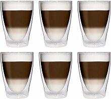 6x 280ml XL doppelwandige Latte Macchiato-Gläser