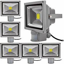 6X 30W LED Strahler Bewegungsmelder Außen Fluter