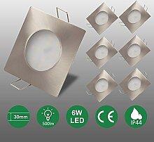 6x 6W LED Einbaustrahler flach 120°
