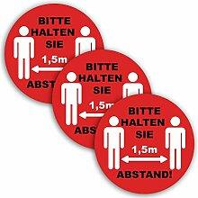 6X Abstand halten Aufkleber rund Rot 21 cm + 15 cm