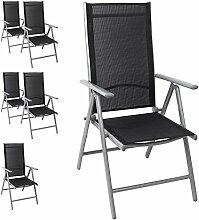 6x Aluminium Hochlehner Gartenstuhl, hochwertige Textilenbespannung, 8-fach verstellbar, klappbar, Silber/Schwarz - Liegestuhl Positionsstuhl Klappstuhl Terrassenmöbel Balkonmöbel Gartenmöbel