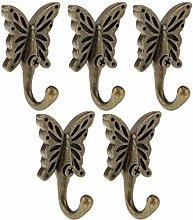 6x Antike Wand Schmetterling Kleiderbügel Kleiderhaken für Tür Kleidung Handtuch