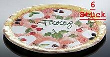 6x Bassano Ausgefallene italienische Keramik, runde Pizzateller 38 cm