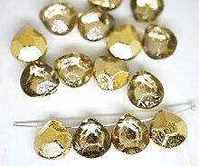 6x Crystal Metallic Gold die Hälfte Briolette