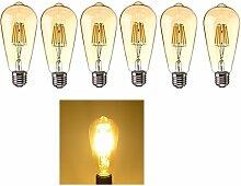 6x E27 6W LED Retro-Leuchtmittel,Warmweiß 2700K