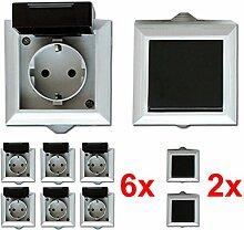 6x Feuchtraum Steckdose 2x Wechselschalter Aufputz IP54 16A/250V grau