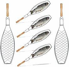 6x Fischbräter im Set, 50 cm lang, Grill