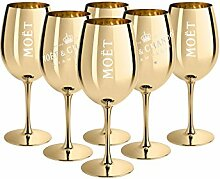 6x Ice Imperial Champagnerglas Echtglas Gold -