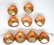 6x Kristall, Rot, Rosa, Gold Glanz Klar Briolette