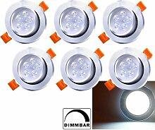 6X LED Einbaustrahler 5W 230V Dimmbar