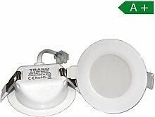 6x LED Einbaustrahler für Bad 85mm 30mm Tiefe 6 Watt IP44 mit integriertem Trafo Spot Lampe Badbeleuchtung Panel