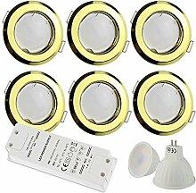 6x LED Einbaustrahler gold rund 7 Watt
