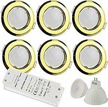 6x LED Einbaustrahler gold rund 7 Watt warmweiß