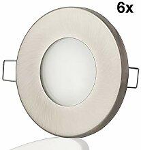 6x LED-Einbaustrahler GU10 rund Edelstahl