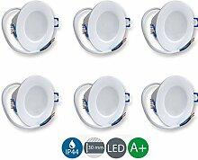 6x LED-Einbaustrahler rund weiß 5W warmweiß