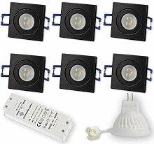 6x LED Einbaustrahler Schwarz - eckig 3W warmweiß