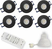 6x LED Einbaustrahler Schwarz - rund 3W kaltweiß