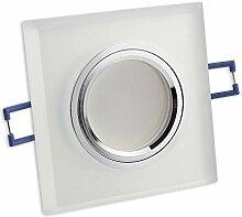 6x LED Einbaustrahler Set matt - eckig aus Glas 7