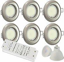 6x LED Einbaustrahler silber rund 5 Watt warmweiß