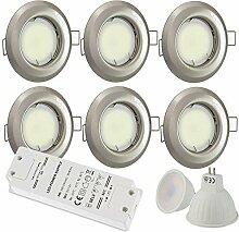 6x LED Einbaustrahler silber rund 7 Watt warmweiß