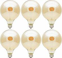 6x LED G125 E27 6W Filament Glühbirne Edison