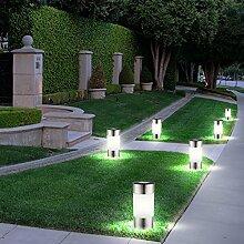 6x LED Solar Lampen Edelstahl Außen Garten Weg