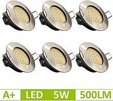 6x MODERNE 5W - 500lm LED Einbaustrahler FLACH