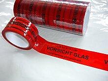 6x Packband Paketband Klebeband VORSICHT GLAS! je