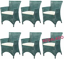 6x Rattansessel ROSAS Grün - Rattanmöbel Set - Korbsessel mit Kissen