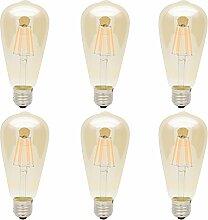 6x ST64 E27 6W LED Filament Edison Vintage