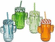 6x Trinkglas Kaktus Einmachglas Marmeladenglas