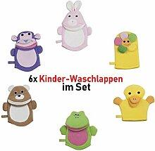 6X Waschlappen Waschhandschuh Kinder Baby Tiere