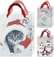 """6x weihnachtliche Geschenktüte, Henkeltasche und Geschenkverpackung mit Katzen Motiv """"Santa Cats"""" (6er SET)"""