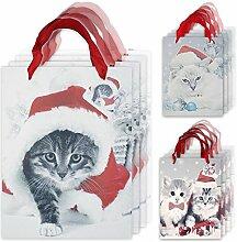 """6x weihnachtliche Geschenktüte, Henkeltasche und Geschenkverpackung mit Katzen Motiv """"Santa Cats"""" (12er SET)"""