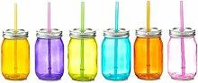 6x Zeller Glas Flasche 450ml bunt mit Deckel &